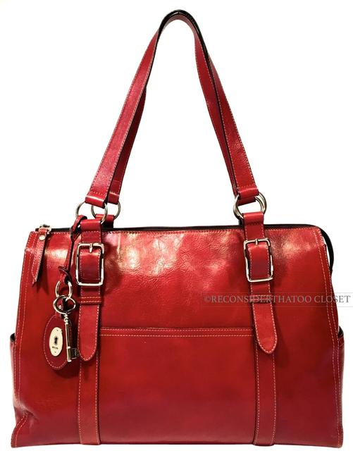 Item - Laptop Friendly Shoulder Strap Red Leather Xlarge Double Satchel Like Tote