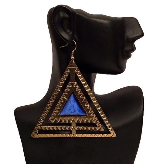 Preload https://img-static.tradesy.com/item/17238991/burnished-gold-blue-jewel-triangle-dangle-statement-earrings-0-4-540-540.jpg