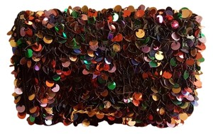 D Lill Multi Colored Sequin Vintag with Black glass seed beads Clutch