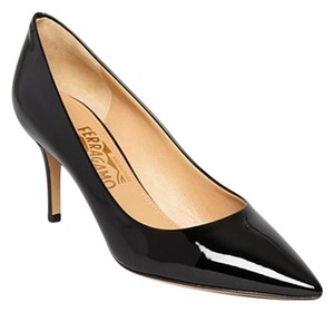 Salvatore Ferragamo Susi Pointed Toe Patent Nero Black Pumps
