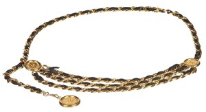 Chanel Chanel Gold and Black Leather Chain Link Belt