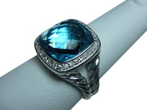 David Yurman 11mm Albion Ring with Blue Topaz and Diamonds size 6, with pouch