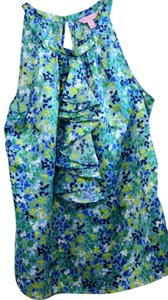 Lilly Pulitzer Ruffle Silk Classic Top floral print Rogan neckline