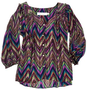 T-Bags Los Angeles Casual Comfortable Button Down Shirt Sheer Ruffle Pink Multi-Color