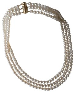 Vintage Genuine Gorgeous 3 Strand Round Pearl Necklace W/14k Gold Clasp