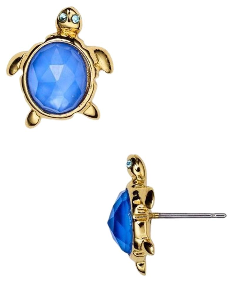 stud gold kate earrings i spade paradise turtle goldblue found blue plated