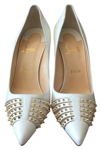 Christian Louboutin Bareta Spiked Off white Pumps