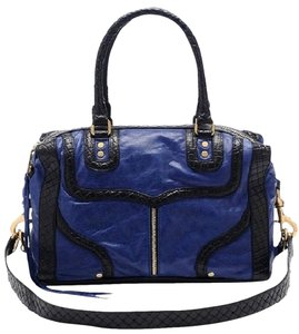 Rebecca Minkoff Mab Satchel in navy (royal) and black basketweave trim