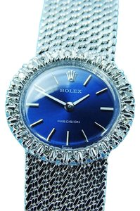 Rolex LADIES ROLEX PRECISION ST.STEEL DIAMOND MANUAL WINDING BLUE DIAL