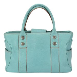 Michael Kors Satchel Thick Leather Heavy Int Canvas Tote in Teal Blue
