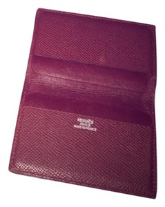 Hermès Herms Bordeaux leather Card Holder