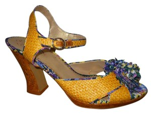 Poetic License Pbo Summer yellow with purple, blue, pink & green print Sandals