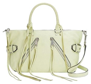 Rebecca Minkoff New With Tags Leather Moto Green Silver Satchel in Honey Dew