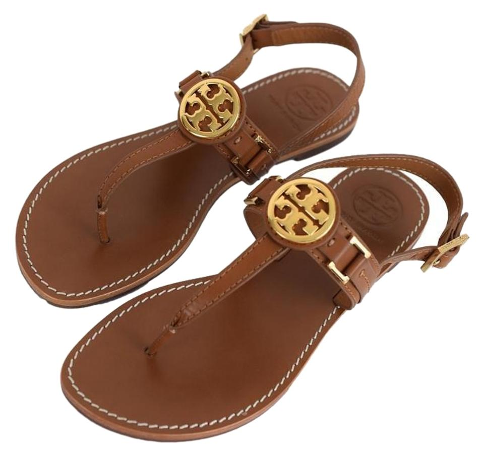 098d871c824e Tory Burch Royal Tan New Box Cassia Flat Gold Logo Sandals Size US 8 ...