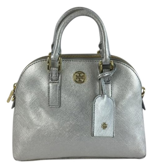 Preload https://item3.tradesy.com/images/tory-burch-robinson-saffiano-mini-dome-silver-leather-satchel-1724172-0-2.jpg?width=440&height=440