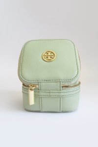 Tory Burch Robinson Saffiano Leather Jewelry Case/Bag - Mint