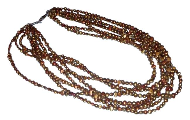 Item - Copper Tones Multi Strand Bead Necklace
