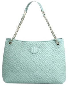 Tory Burch Quilted Leather Tote in Light Green