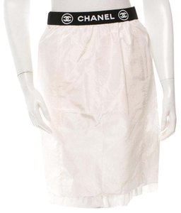 Chanel Monogram Logo Silk Interlocking Cc Embroidered Skirt White, Black