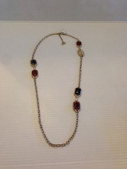 Chanel CHANEL AUTHENTIC NWT MULTI COLOR RECTANGULAR STONE CC LOGO NECKLACE