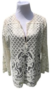 BCBGMAXAZRIA Lace Long Sleeve Tunic Beach Coverup Top Creme