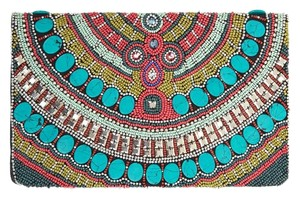 BCBGeneration Beaded Boho Bohemian Festival Night Out Multicolor Clutch