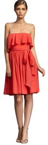 Halston Ruffled Chiffon Silk Strapless Pink Dress