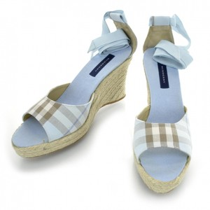Burberry Wedge Espadrilles Heels Blue Nova Check PLaid Sandals
