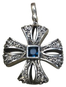 Lois Hill Lois Hill Sterling Silver and Blue Topaz Maltese Cross Pendant