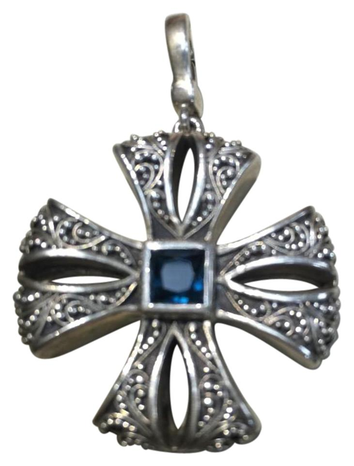 Lois hill sterling silver blue topaz and maltese cross pendant lois hill lois hill sterling silver and blue topaz maltese cross pendant aloadofball Images
