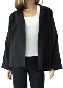 Eskandar Open Collar Short Oversized Black Jacket