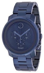 Movado Dark Navy Dial Blu Ion Plated Stainless Steel Designer MENS Casua Sport Watch