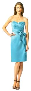 Dessy Knee-length Strapless Satin Dress