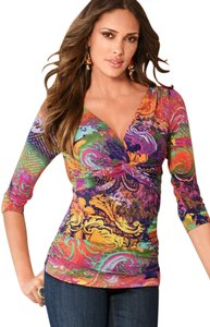 Boston Proper Sold Out Print Stretchable Spandex Club Top Techno Scroll Multi Colored Abstract