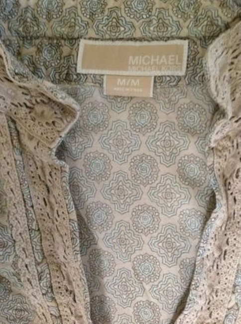 Michael Kors Top Tan & Blue Patterned