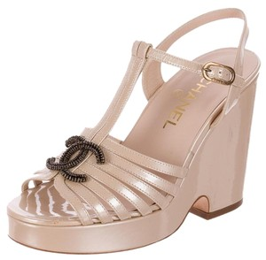 Chanel Gold Hardware Ankle Strap Interlocking Cc Strappy Beige, Gold Platforms