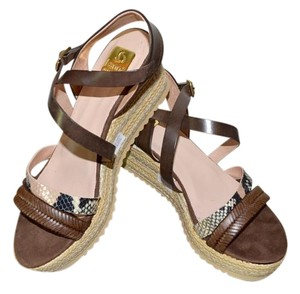 Kanna Sandals Rubber Soles Made In Spain Comfortable TAN Python Multi Leather Wedges