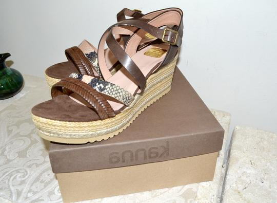 Kanna Sandals Rubber Soles Made In Spain Comfortable TAN Python Multi Leather Wedges Image 1