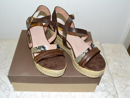 Kanna Sandals Rubber Soles Made In Spain Comfortable TAN Python Multi Leather Wedges Image 2