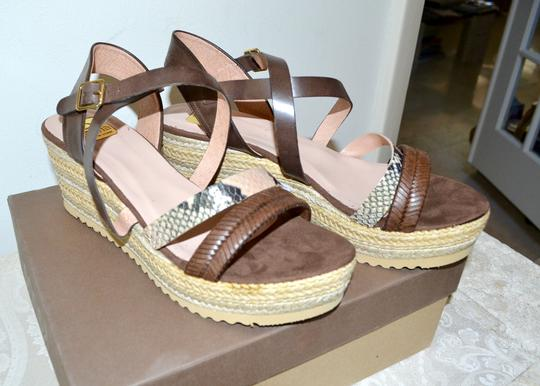 Kanna Sandals Rubber Soles Made In Spain Comfortable TAN Python Multi Leather Wedges Image 3