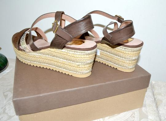 Kanna Sandals Rubber Soles Made In Spain Comfortable TAN Python Multi Leather Wedges Image 4