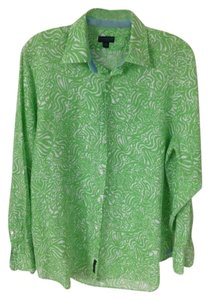 Lilly Pulitzer Linen Button Down Shirt Bright Green