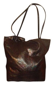 Carlos Falchi Snake Skin Look Zip Pouch Tote in Metalliic Reptile