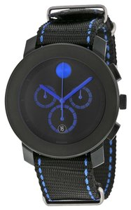 Movado lack Dial with Blue Accents Black Woven Nylon Strap Designer MENS Casual Sport Watch