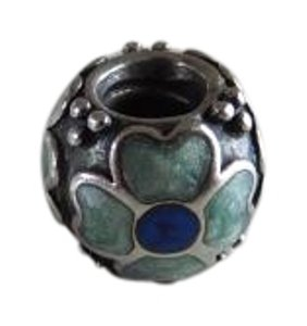 PANDORA AUTHENTIC RETIRED PANDORA BLUE ENAMEL FLOWER ON SILVER
