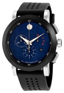 Movado Blue Dial Black and Silver Stainless Steel Black Perforated Rubber Designer MENS Casual Watch