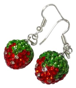 Other New Crystal Strawberry Earrings Red Green Silver Tone J2729