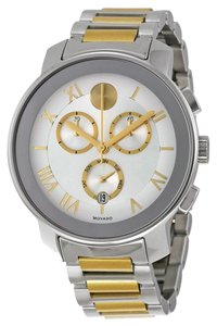 Movado Two Tone Silver and Gold Stainless Steel Designer MENS Casual Sport Watch