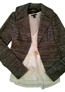 Banana Republic Wool Work Wear Cropped Black/White Blazer