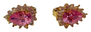 Other New 14K Gold Filled Pink Cubic Zirconia Stud Earrings J2730